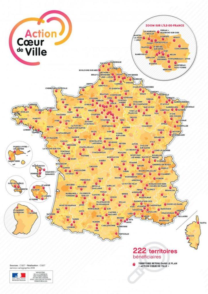 Carte des 222 villes françaises éligibles au Programme Action coeur de ville pour revitaliser les territoires